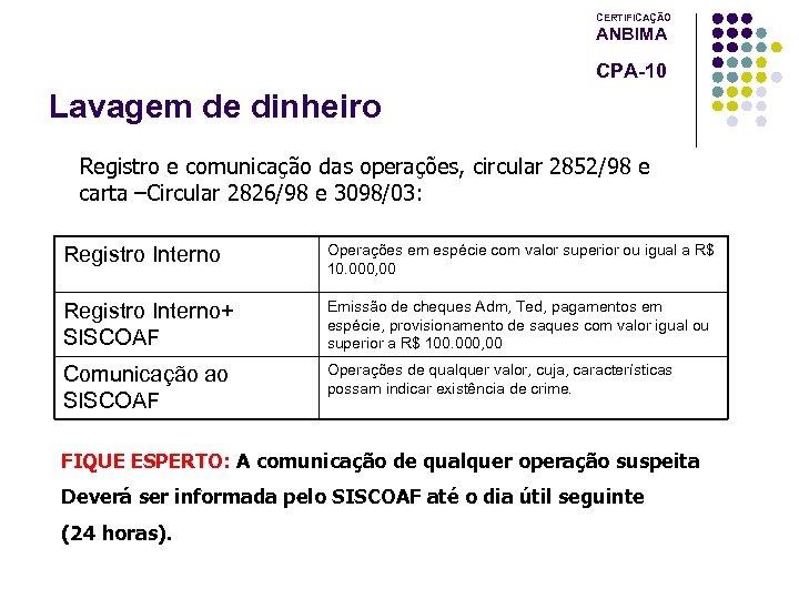 CERTIFICAÇÃO ANBIMA CPA-10 Lavagem de dinheiro Registro e comunicação das operações, circular 2852/98 e