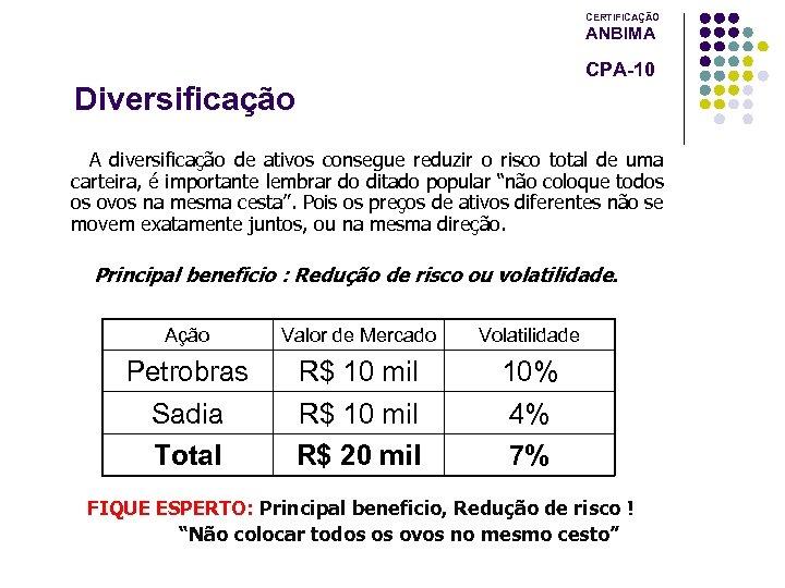 CERTIFICAÇÃO ANBIMA CPA-10 Diversificação A diversificação de ativos consegue reduzir o risco total de