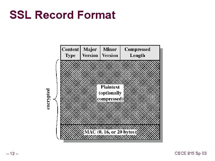 SSL Record Format – 12 – CSCE 815 Sp 03