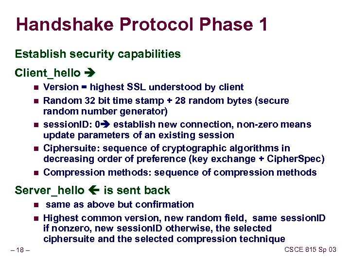 Handshake Protocol Phase 1 Establish security capabilities Client_hello n n n Version = highest