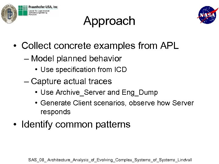 Approach • Collect concrete examples from APL – Model planned behavior • Use specification