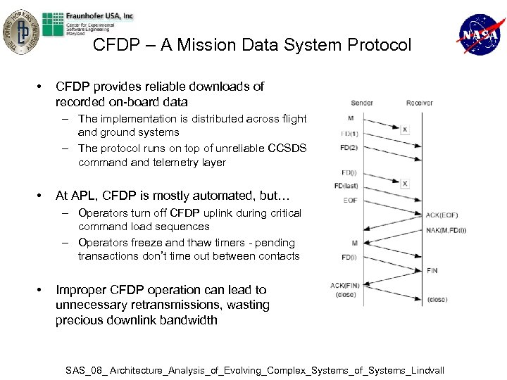 CFDP – A Mission Data System Protocol • CFDP provides reliable downloads of recorded