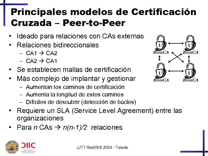 Principales modelos de Certificación Cruzada – Peer-to-Peer • Ideado para relaciones con CAs externas