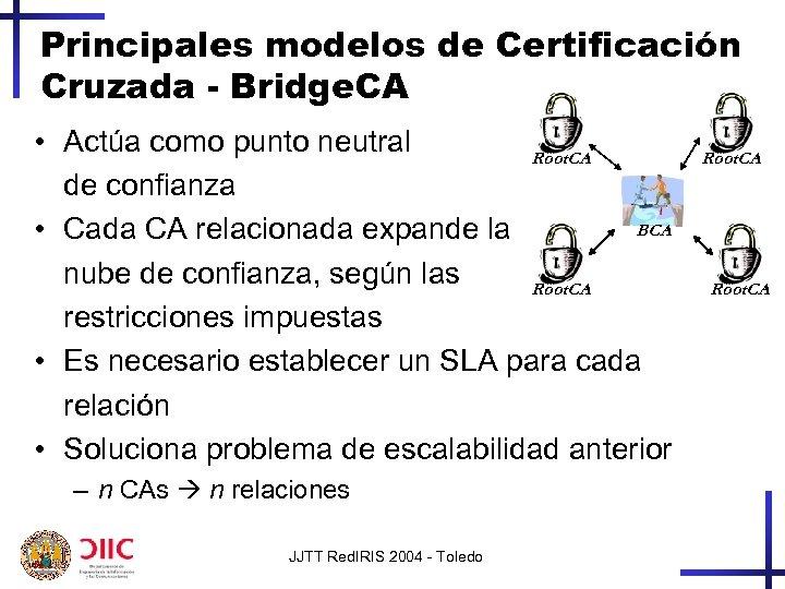 Principales modelos de Certificación Cruzada - Bridge. CA • Actúa como punto neutral Root.
