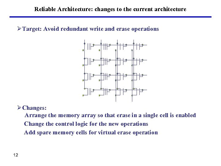 Reliable Architecture: changes to the current architecture ØTarget: Avoid redundant write and erase operations