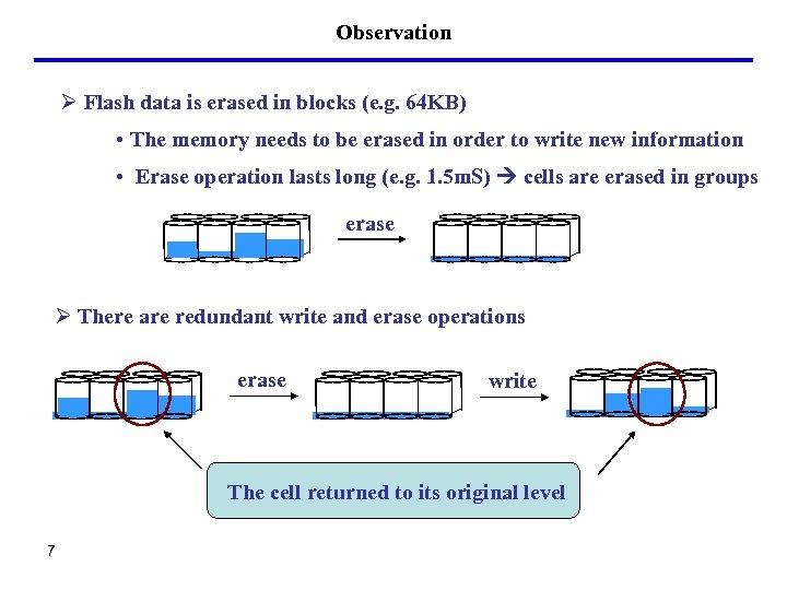 Observation Ø Flash data is erased in blocks (e. g. 64 KB) • The