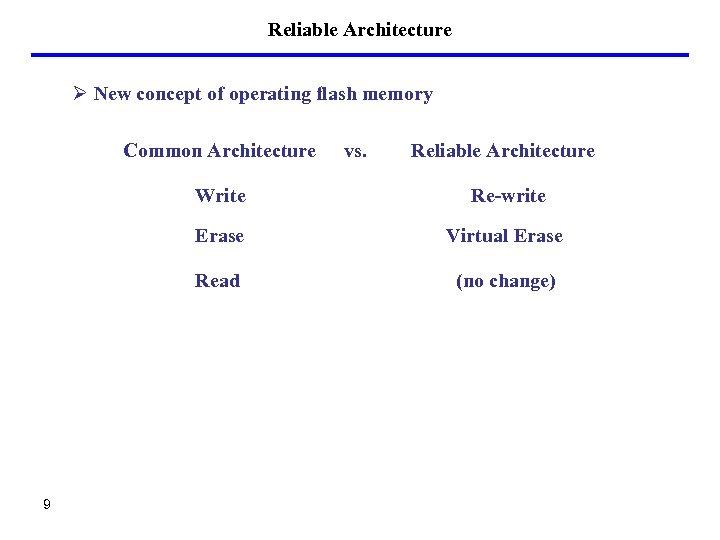 Reliable Architecture Ø New concept of operating flash memory Common Architecture vs. Reliable Architecture