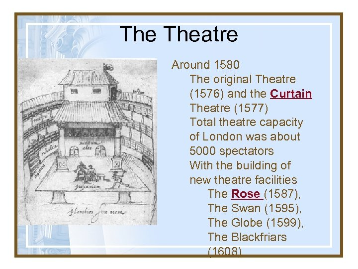 The Theatre Around 1580 The original Theatre (1576) and the Curtain Theatre (1577) Total