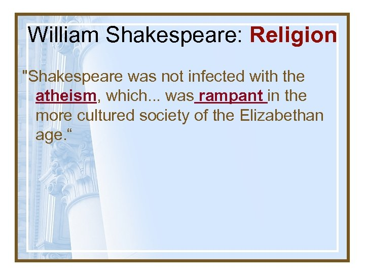 William Shakespeare: Religion