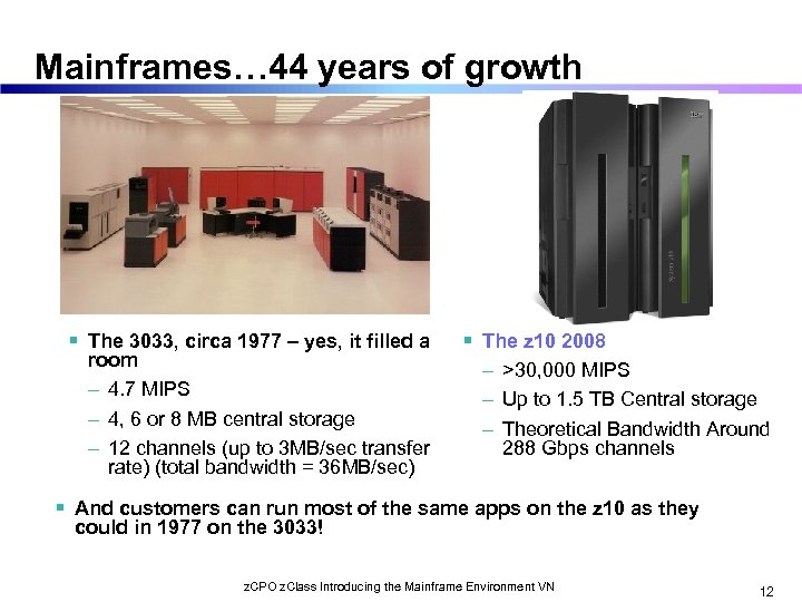 Mainframes… 44 years of growth The 3033, circa 1977 – yes, it filled a