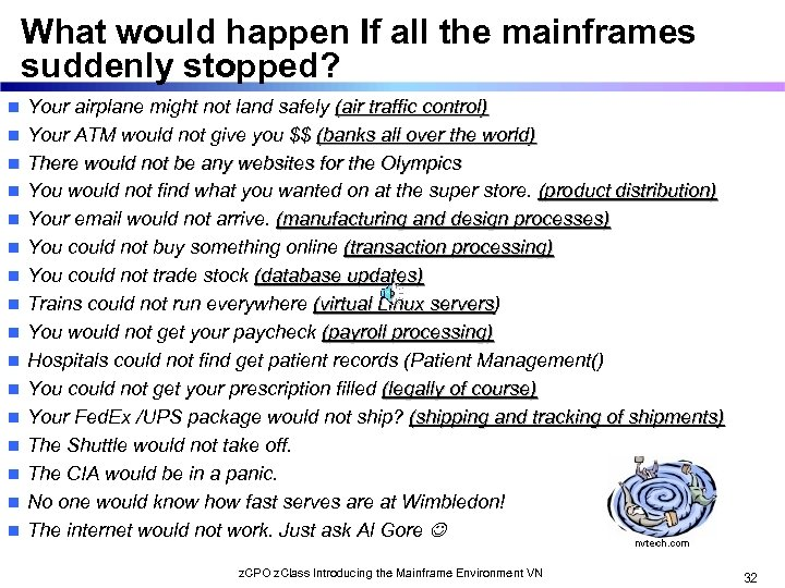 What would happen If all the mainframes suddenly stopped? n n n n Your
