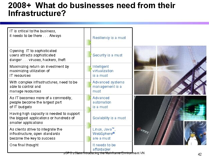 2008+ What do businesses need from their Infrastructure? IT is critical to the business,