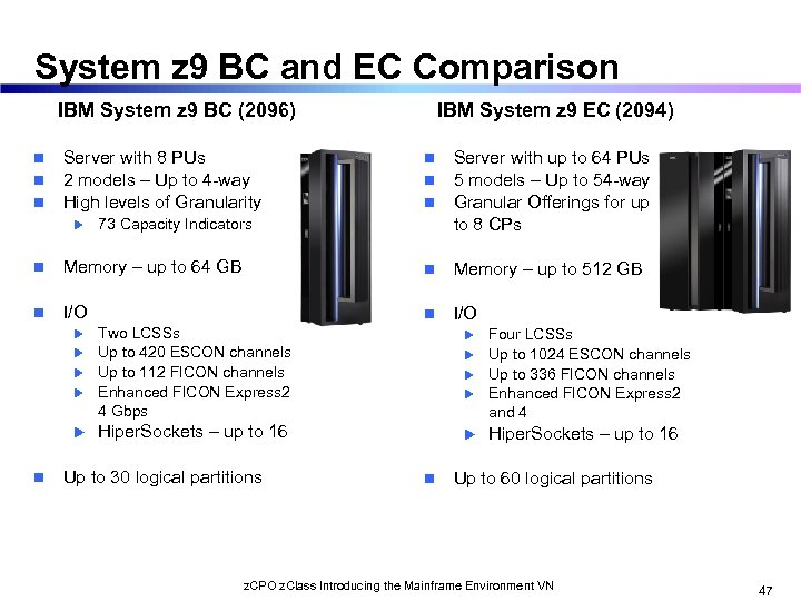 System z 9 BC and EC Comparison IBM System z 9 BC (2096) n