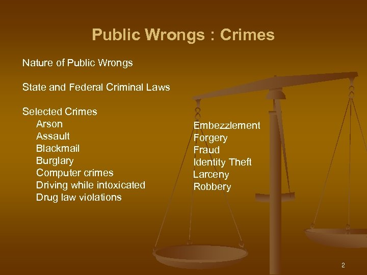 Public Wrongs : Crimes Nature of Public Wrongs State and Federal Criminal Laws Selected