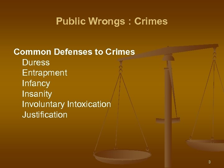Public Wrongs : Crimes Common Defenses to Crimes Duress Entrapment Infancy Insanity Involuntary Intoxication
