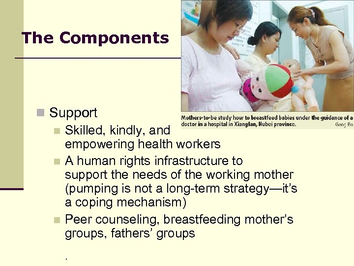 The Components n Support n Skilled, kindly, and empowering health workers n A human
