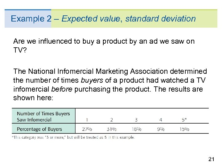 Example 2 – Expected value, standard deviation Are we influenced to buy a product