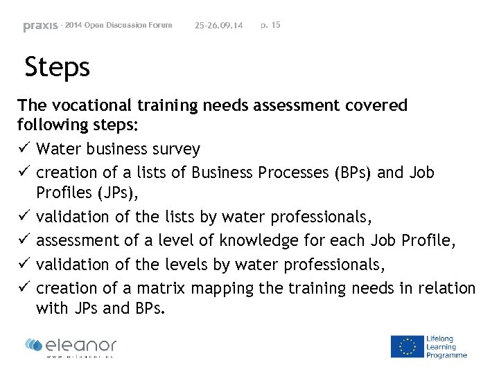 - 2014 Open Discussion Forum 25 -26. 09. 14 p. 15 Steps The vocational