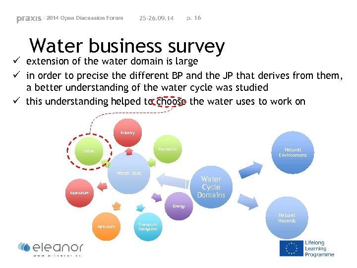 - 2014 Open Discussion Forum 25 -26. 09. 14 p. 16 Water business survey