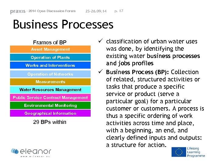 - 2014 Open Discussion Forum 25 -26. 09. 14 p. 17 Business Processes Frames