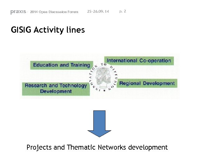 - 2014 Open Discussion Forum 25 -26. 09. 14 p. 2 GISIG Activity lines