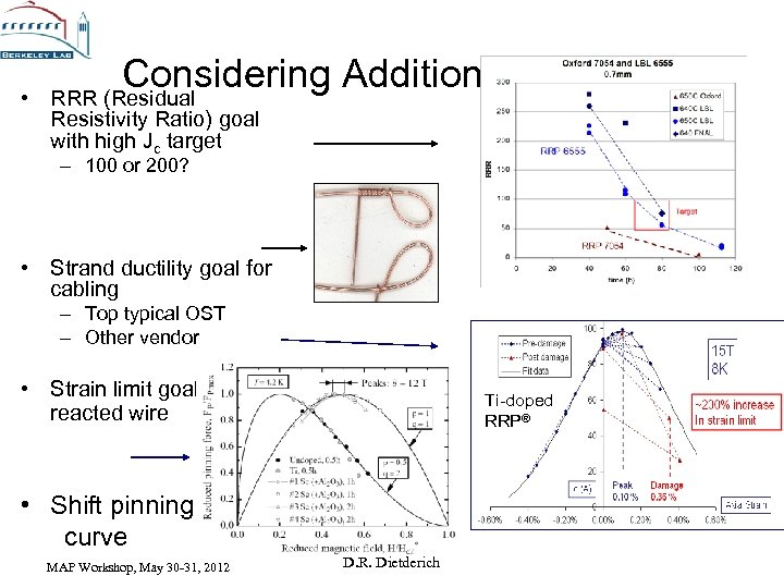 • Considering Additional CDP Goals RRR (Residual Resistivity Ratio) goal with high Jc