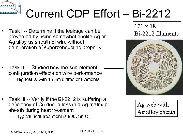 Current CDP Effort – Bi-2212 • Task I -- Determine if the leakage can