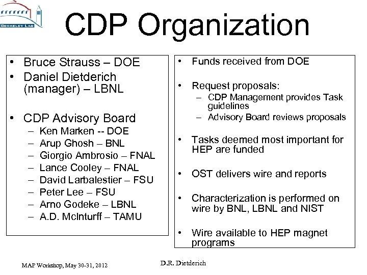 CDP Organization • Bruce Strauss – DOE • Daniel Dietderich (manager) – LBNL •