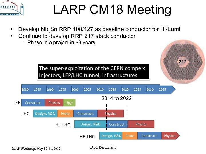 LARP CM 18 Meeting • Develop Nb 3 Sn RRP 108/127 as baseline conductor