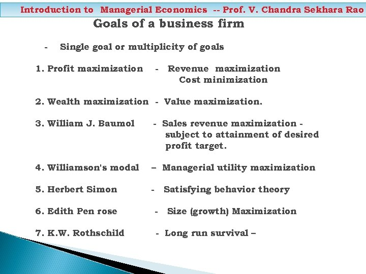 Introduction to Managerial Economics -- Prof. V. Chandra Sekhara Rao Goals of a business