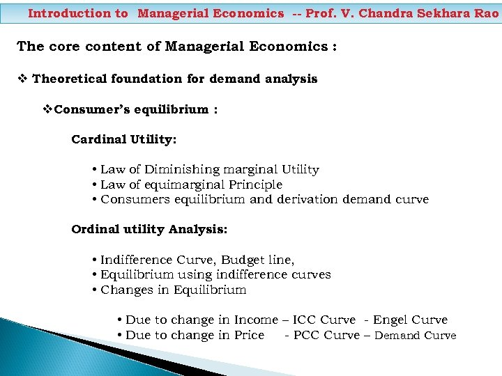 Introduction to Managerial Economics -- Prof. V. Chandra Sekhara Rao The core content of