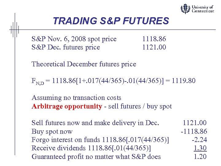 TRADING S&P FUTURES S&P Nov. 6, 2008 spot price S&P Dec. futures price 1118.