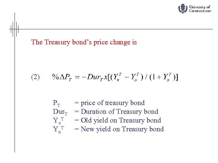 The Treasury bond's price change is (2) PT Dur. T Yo. T Yn. T