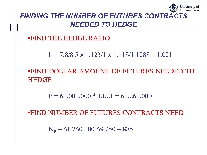 FINDING THE NUMBER OF FUTURES CONTRACTS NEEDED TO HEDGE • FIND THE HEDGE RATIO