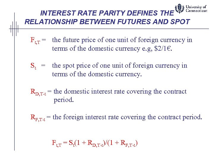 INTEREST RATE PARITY DEFINES THE RELATIONSHIP BETWEEN FUTURES AND SPOT Ft, T = the