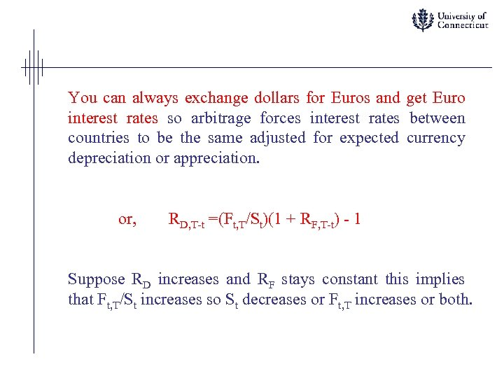 You can always exchange dollars for Euros and get Euro interest rates so arbitrage