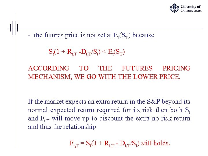 - the futures price is not set at Et(ST) because St(1 + Rt, T