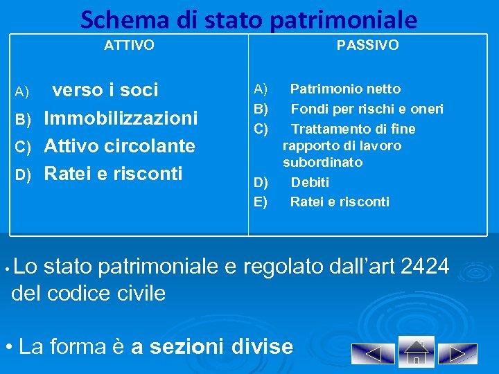 Schema di stato patrimoniale ATTIVO A) B) C) D) • verso i soci Immobilizzazioni