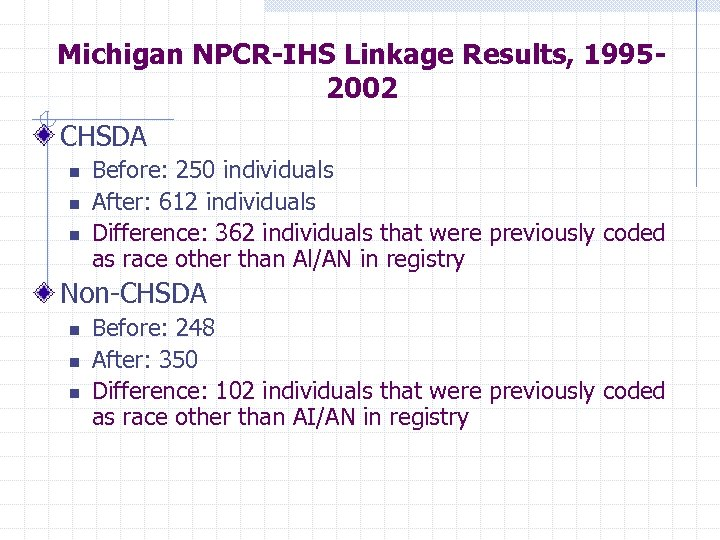 Michigan NPCR-IHS Linkage Results, 19952002 CHSDA n n n Before: 250 individuals After: 612
