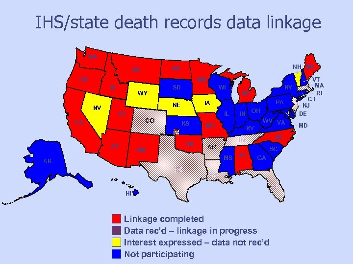 IHS/state death records data linkage WA NH ME ND MT OR MN ID WY