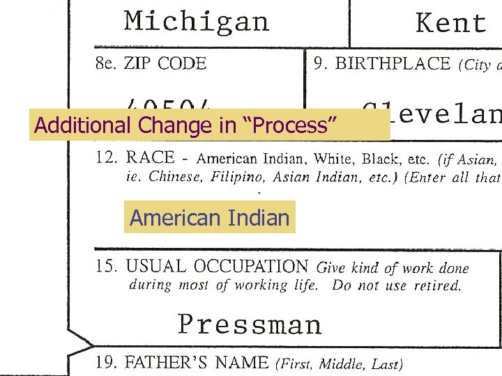 "Additional Change in ""Process"" American Indian"