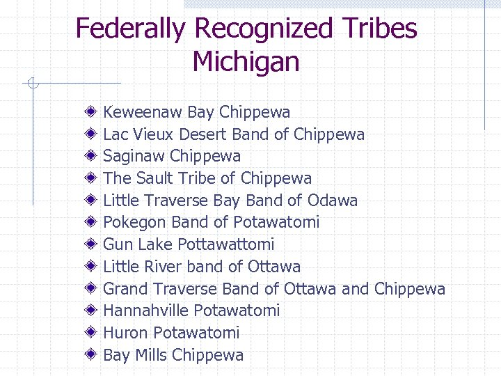 Federally Recognized Tribes Michigan Keweenaw Bay Chippewa Lac Vieux Desert Band of Chippewa Saginaw