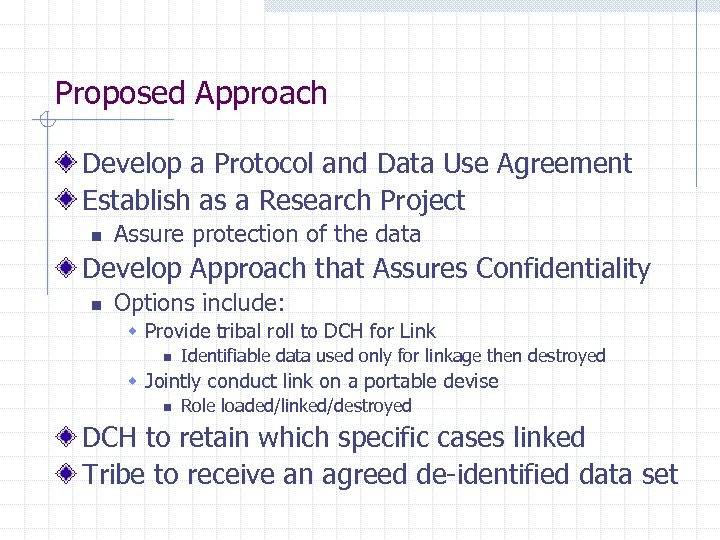 Proposed Approach Develop a Protocol and Data Use Agreement Establish as a Research Project