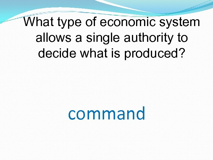 What type of economic system allows a single authority to decide what is produced?