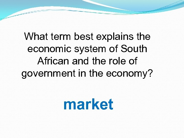 What term best explains the economic system of South African and the role of