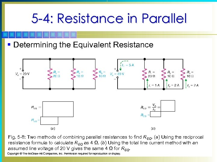 5 -4: Resistance in Parallel § Determining the Equivalent Resistance Fig. 5 -8: Two
