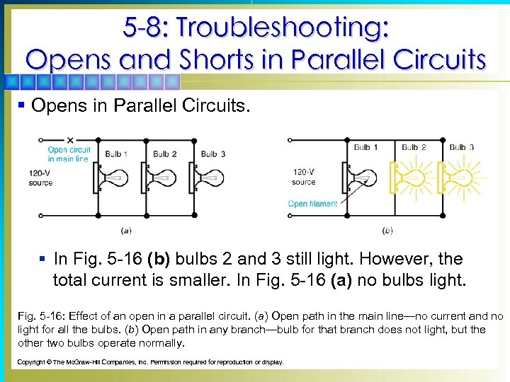 5 -8: Troubleshooting: Opens and Shorts in Parallel Circuits § Opens in Parallel Circuits.