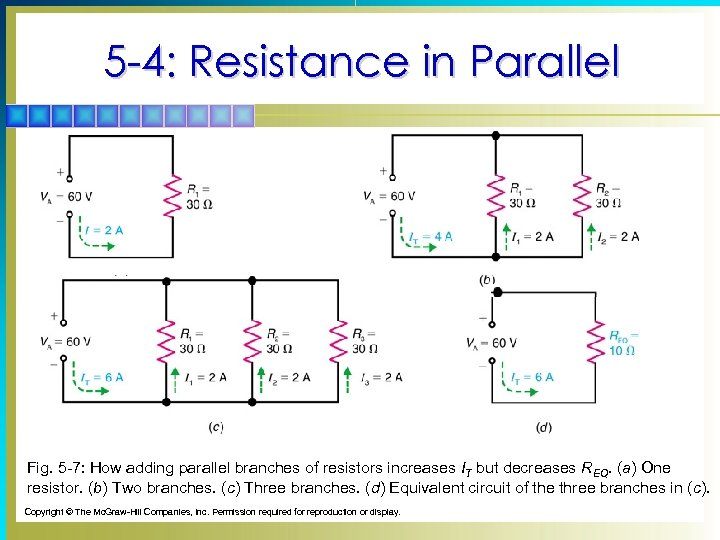 5 -4: Resistance in Parallel Fig. 5 -7: How adding parallel branches of resistors