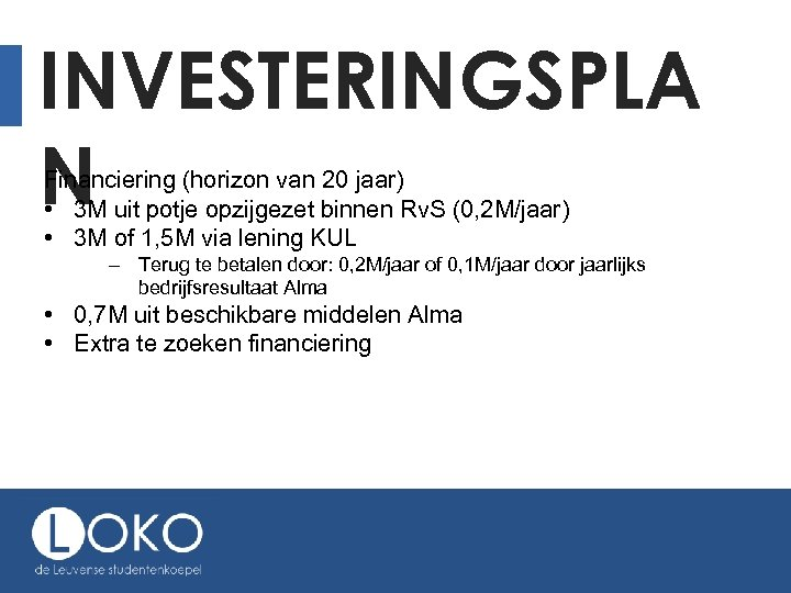 INVESTERINGSPLA N Financiering (horizon van 20 jaar) • 3 M uit potje opzijgezet binnen