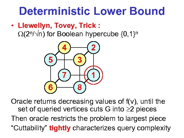 Deterministic Lower Bound • Llewellyn, Tovey, Trick : (2 n/ n) for Boolean hypercube